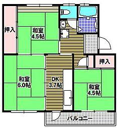 UR金剛団地[4階]の間取り