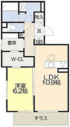 仮称・吹田市シャーメゾン岸部中3丁目PJ 2階1SLDKの間取り