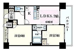 Osaka Metro御堂筋線 梅田駅 徒歩10分の賃貸マンション 13階2DKの間取り