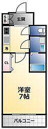 エスプレイス大阪城サウスコンフォート 13階1Kの間取り