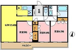 埼玉県さいたま市浦和区上木崎1丁目の賃貸マンションの間取り