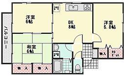 ヒマワリたけの B棟[2階]の間取り