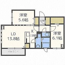 北海道札幌市中央区南十条西13丁目の賃貸マンションの間取り