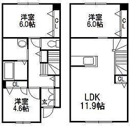 [テラスハウス] 北海道札幌市西区山の手七条7丁目 の賃貸【/】の間取り