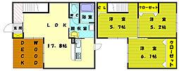 [タウンハウス] 福岡県福津市西福間1丁目 の賃貸【/】の間取り
