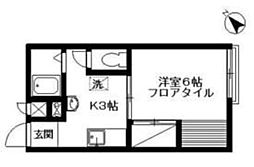 東京都調布市深大寺元町5丁目の賃貸アパートの間取り