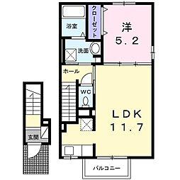 JR宇野線 茶屋町駅 徒歩12分の賃貸アパート 2階1LDKの間取り