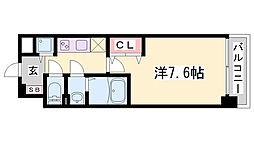 Luxe神戸WEST 9階1Kの間取り