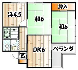 福岡県北九州市八幡東区祝町2丁目の賃貸マンションの間取り