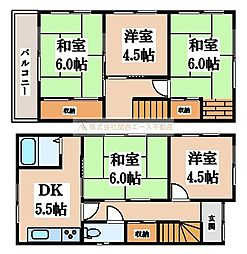 [一戸建] 大阪府堺市北区百舌鳥陵南町3丁 の賃貸【/】の間取り