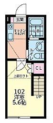多摩都市モノレール 中央大学・明星大学駅 徒歩13分の賃貸アパート 1階1Kの間取り