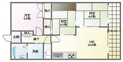 YKハイツ江井ヶ島[4階]の間取り