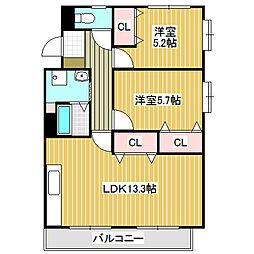 愛知県名古屋市中川区打出2丁目の賃貸マンションの間取り