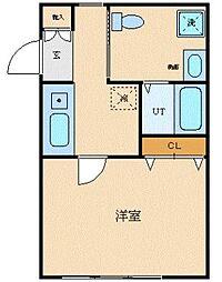 JR中央本線 西国分寺駅 徒歩2分の賃貸マンション 4階1Kの間取り