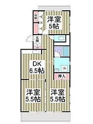 埼玉県上尾市東町2丁目の賃貸マンションの間取り
