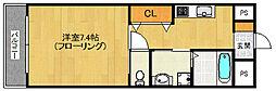 福岡市地下鉄空港線 室見駅 徒歩5分の賃貸マンション 7階1Kの間取り