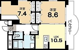 クィーンズコート久津川[3階]の間取り
