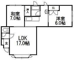 ハイツ3・6[3階]の間取り