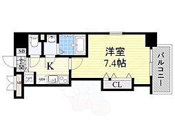 ラグゼ江坂2 2階1Kの間取り