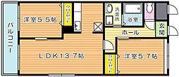ラフォーレ高尾II[201号室]の間取り