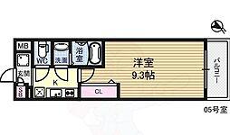Luxe淡路 2階1Kの間取り