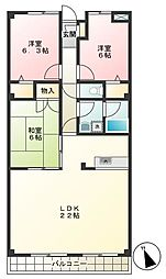 東京都調布市調布ケ丘2丁目の賃貸マンションの間取り