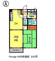 Revage・MORI参番館[2階]の間取り