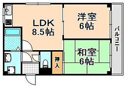 兵庫県伊丹市東野1丁目の賃貸マンションの間取り