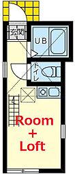 相鉄本線 上星川駅 徒歩9分の賃貸アパート 2階ワンルームの間取り