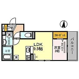 仮称 調子一丁目Droom 3階1LDKの間取り