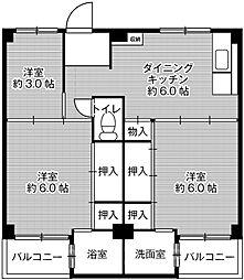 ビレッジハウス伏屋9号棟[3階]の間取り