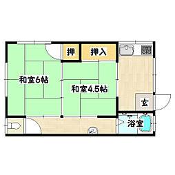 兵庫県神戸市長田区高取山町2丁目の賃貸アパートの間取り