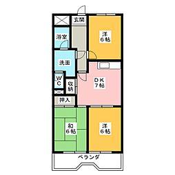 リバーサイド横地[2階]の間取り