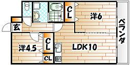福岡県北九州市八幡西区陣原1丁目の賃貸アパートの間取り