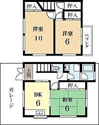 [タウンハウス] 京都府城陽市富野乾垣内 の賃貸【/】の間取り