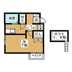 リリーアパート[1階]の間取り