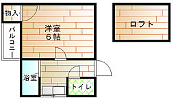 福岡県宗像市赤間4丁目の賃貸アパートの間取り