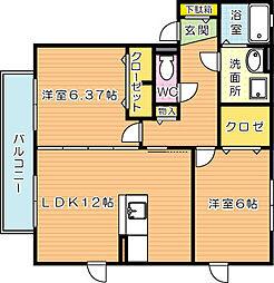 プレミールASO I B棟[2階]の間取り