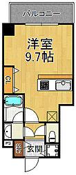 ブランTAT西宮本町2 6階ワンルームの間取り