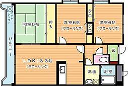 穴生ペットマンション[4階]の間取り