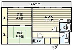 大阪府大阪市生野区巽中1丁目の賃貸マンションの間取り