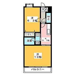 メゾンM.I[6階]の間取り