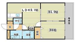 兵庫県姫路市勝原区丁の賃貸マンションの間取り