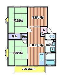 コンフォートイーストB[2階]の間取り