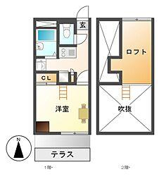 愛知県名古屋市南区曽池町2の賃貸アパートの間取り