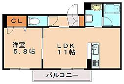 (仮)シャーメゾン津屋崎 2階1LDKの間取り