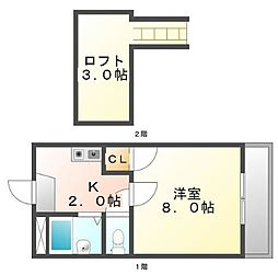 広島県福山市吉津町の賃貸アパートの間取り