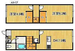 レオパレスTsuruhara2001[1階]の間取り