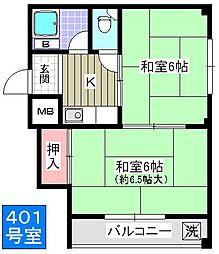 上林マンション[401号室]の間取り