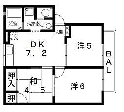 メュールパレ松本II[102号室号室]の間取り